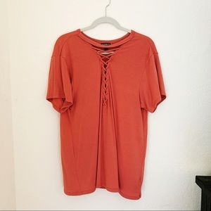 EXPRESS LACE UP TEE -LIKE NEW